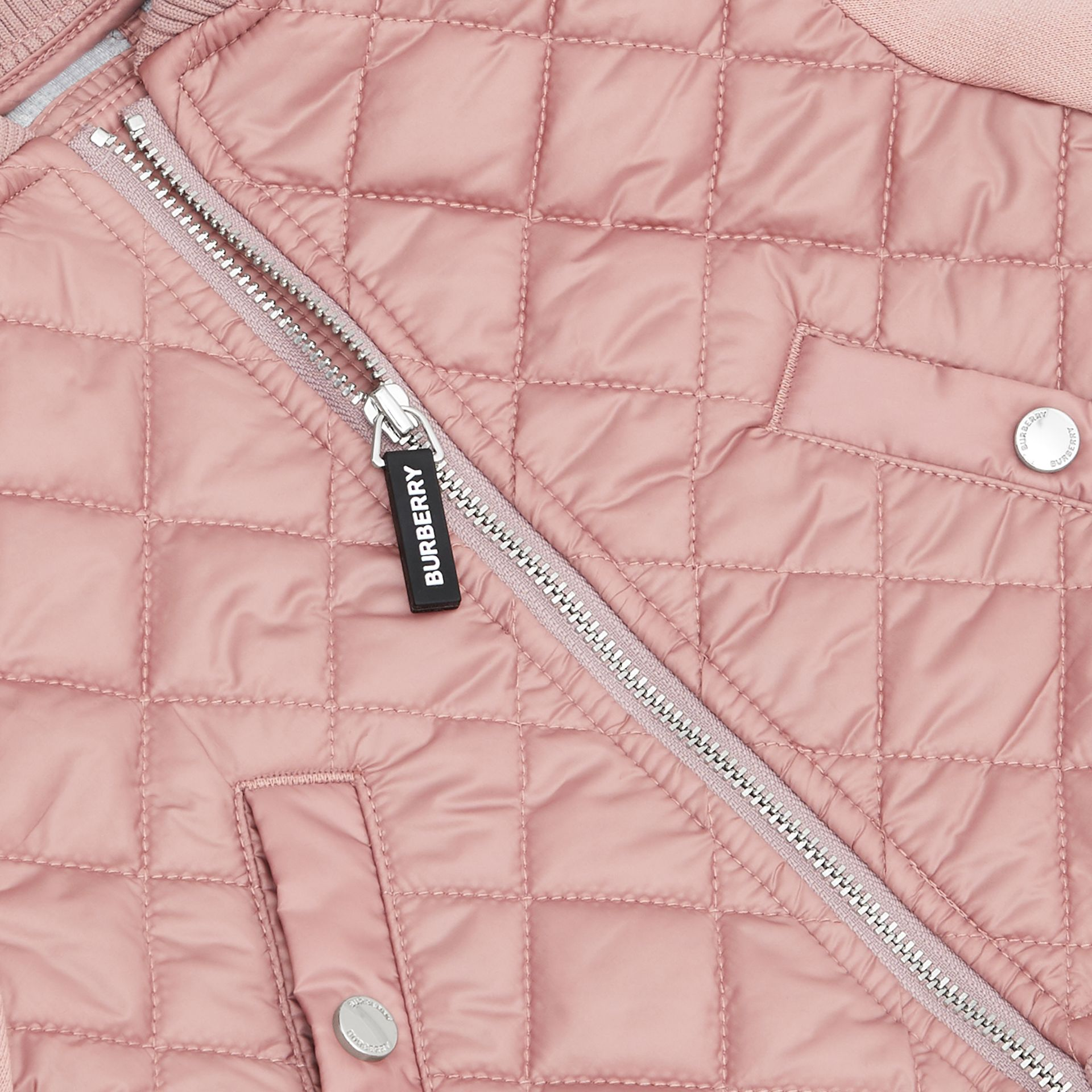 Contrast Sleeve Diamond Quilted Bomber Jacket in Lavender Pink - Children | Burberry Singapore - gallery image 1