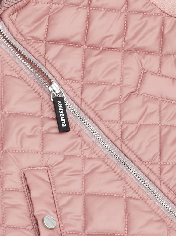 Contrast Sleeve Diamond Quilted Bomber Jacket in Lavender Pink - Children | Burberry - cell image 1
