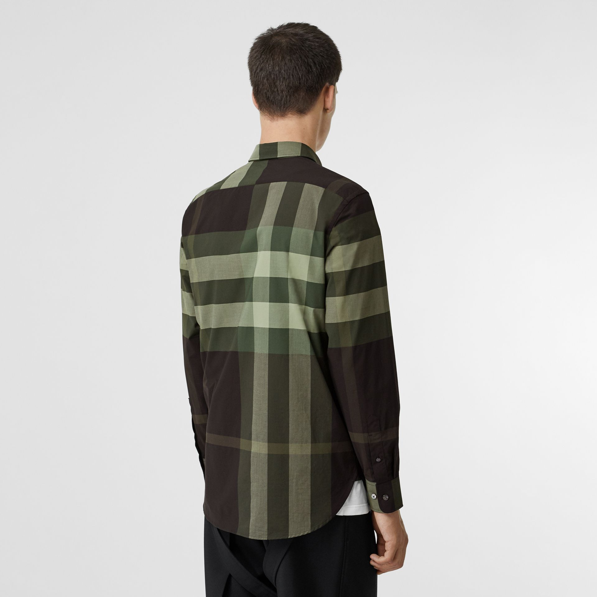 Check Stretch Cotton Shirt in Dark Forest Green - Men | Burberry United Kingdom - gallery image 2