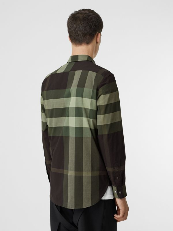 Check Stretch Cotton Shirt in Dark Forest Green - Men | Burberry - cell image 2