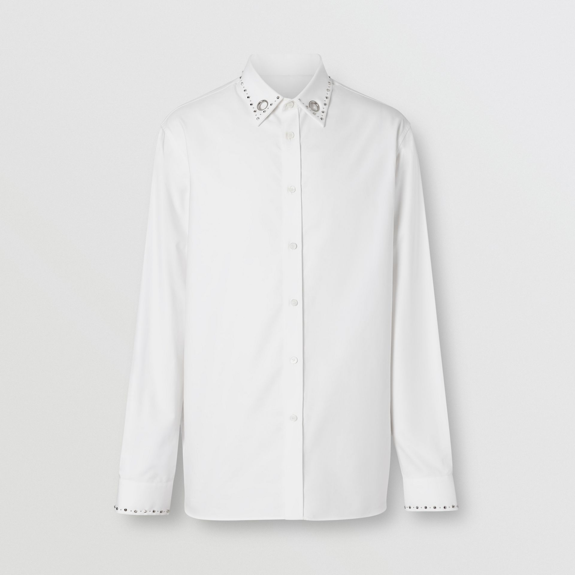 Classic Fit Stud Detail Cotton Oxford Shirt in White - Men | Burberry - gallery image 3