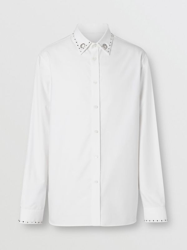 Classic Fit Stud Detail Cotton Oxford Shirt in White - Men | Burberry - cell image 3