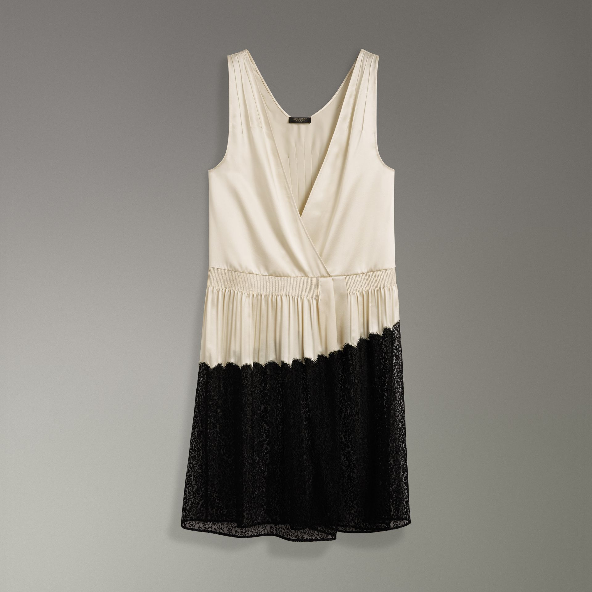 Silk Satin and Lace Sleeveless Dress in Cream - Women | Burberry - gallery image 3