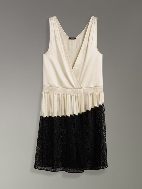 Silk Satin and Lace Sleeveless Dress in Cream - Women | Burberry Canada - cell image 3
