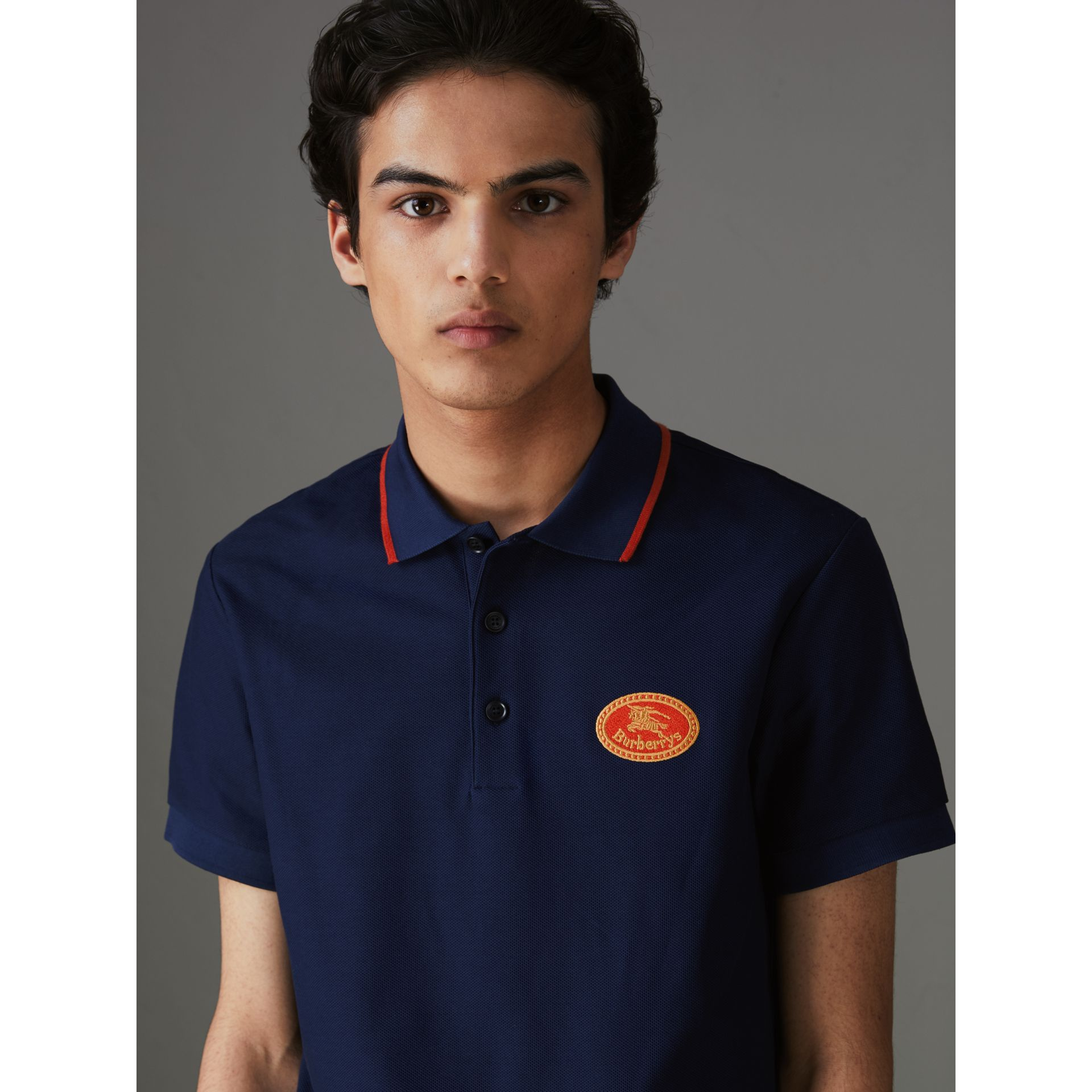 Archive Logo Cotton Piqué Polo Shirt in Navy - Men | Burberry Singapore - gallery image 1