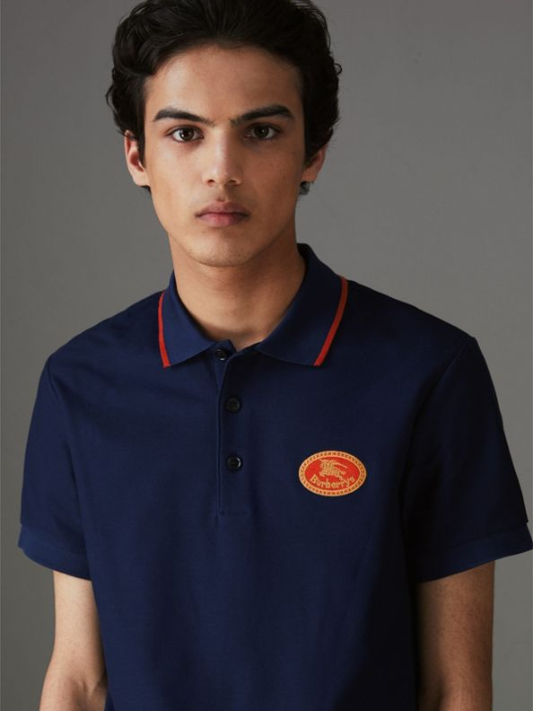 Archive Logo Cotton Piqué Polo Shirt in Navy