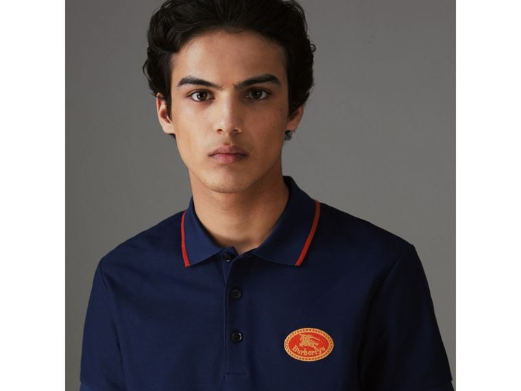 Archive Logo Cotton Piqué Polo Shirt in Navy - Men | Burberry - cell image 1