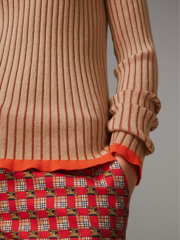 Silk Cashmere Turtleneck Sweater in Sand Brown - Women | Burberry United Kingdom - cell image 1