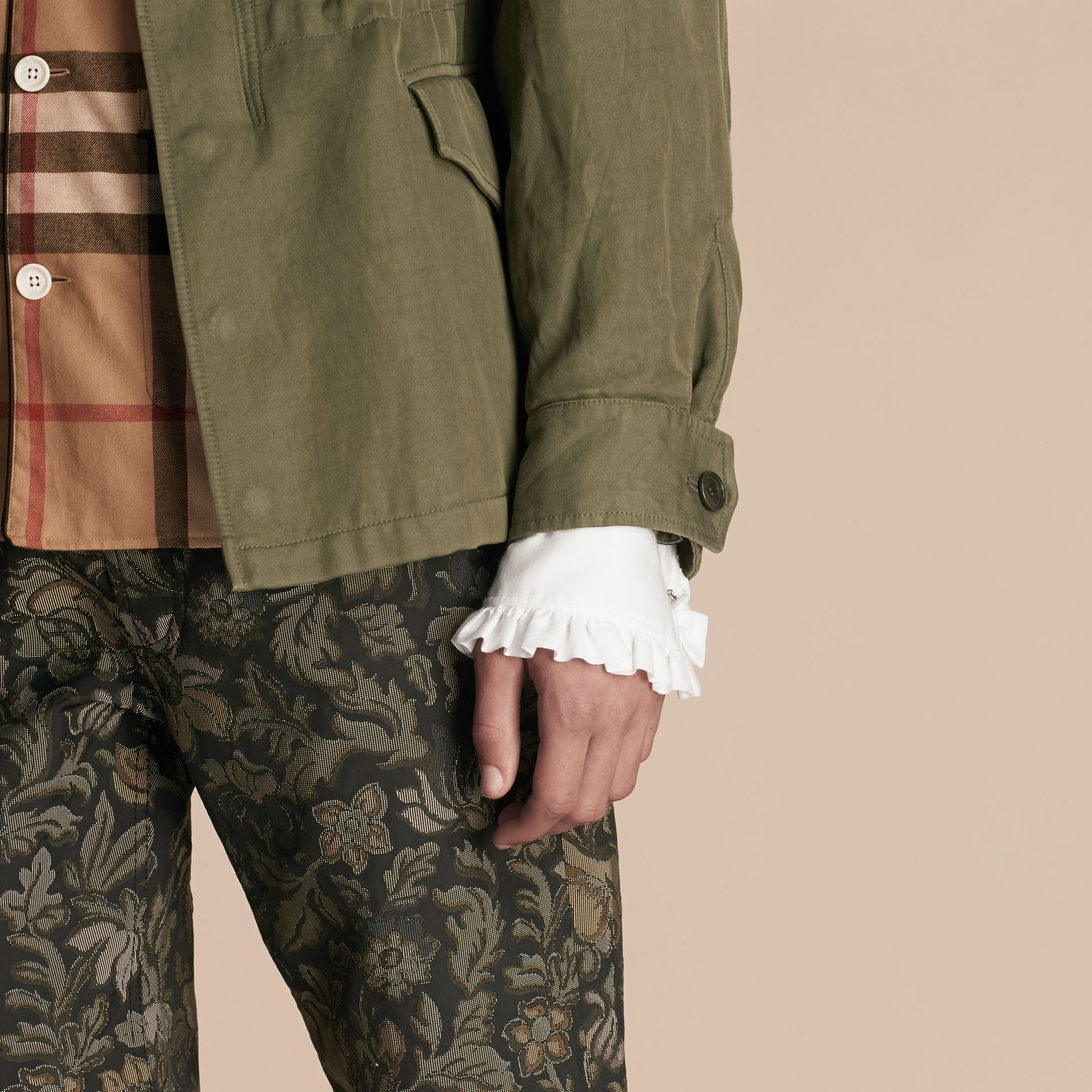 Military green Tumbled Ramie Cotton Twill Field Jacket - gallery image 6
