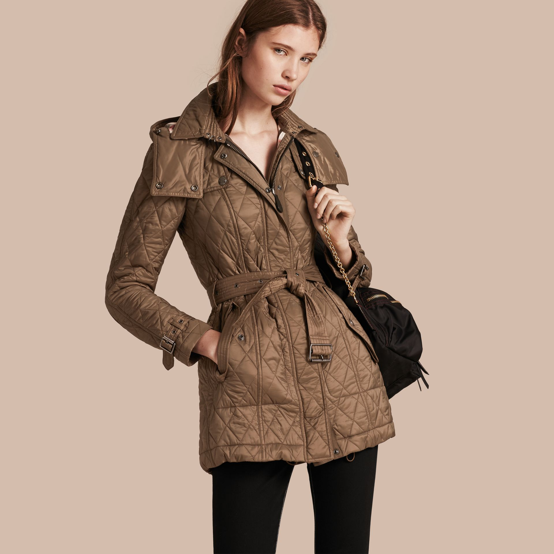 Diamond Quilted Coat Dusty Khaki - gallery image 1