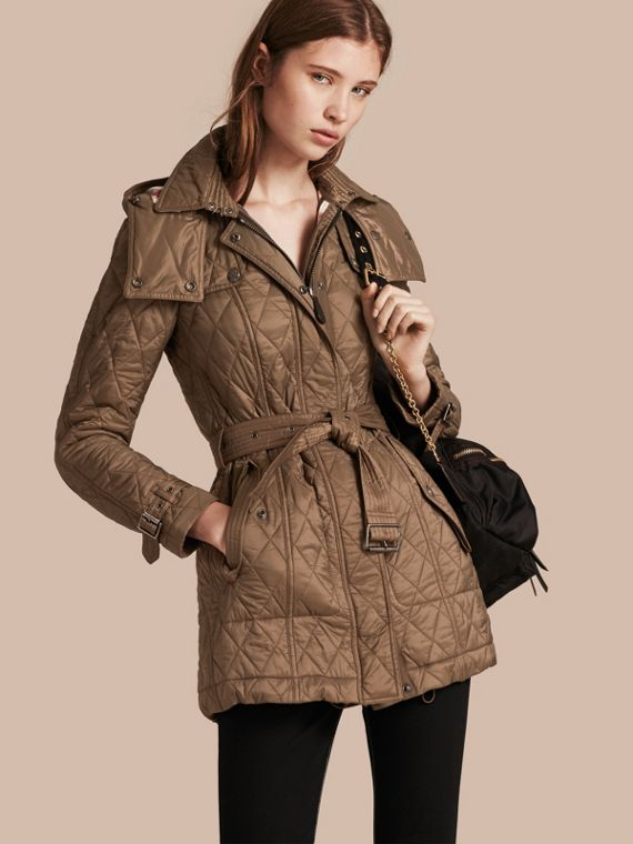 Diamond Quilted Coat in Dusty Khaki