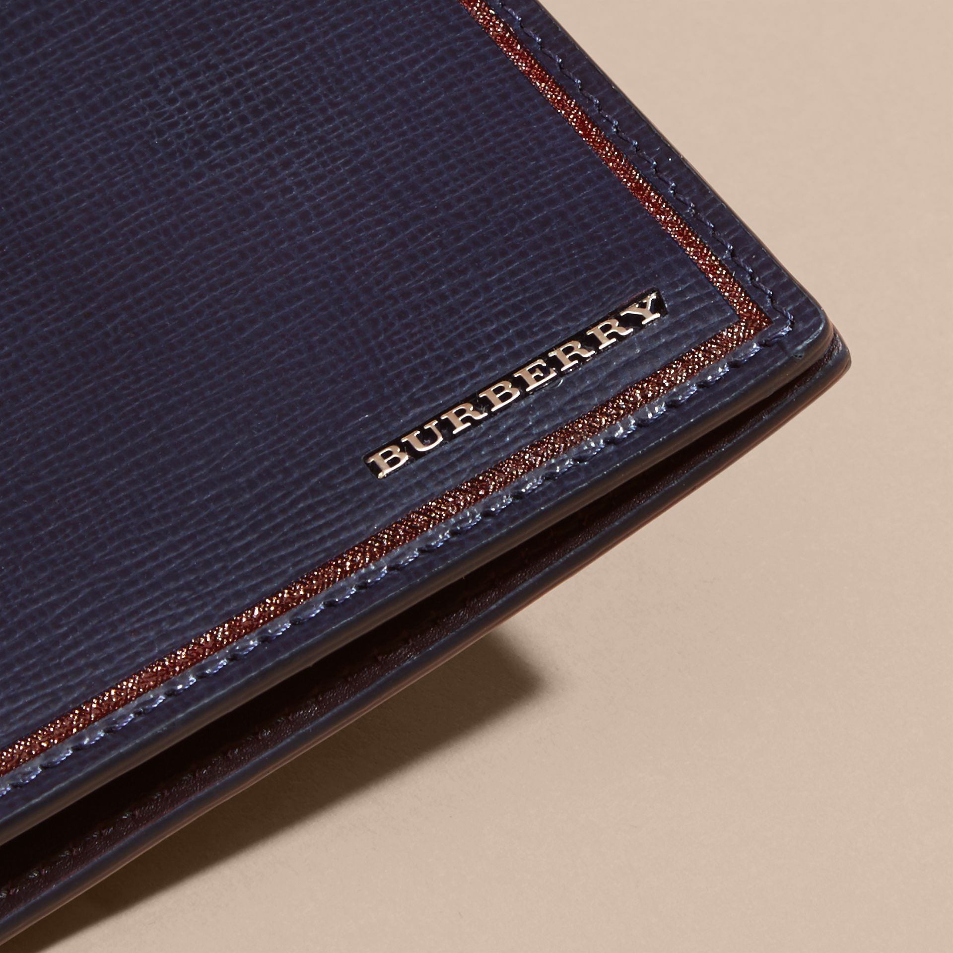 Dark navy Border Detail London Leather Folding Wallet Dark Navy - gallery image 4