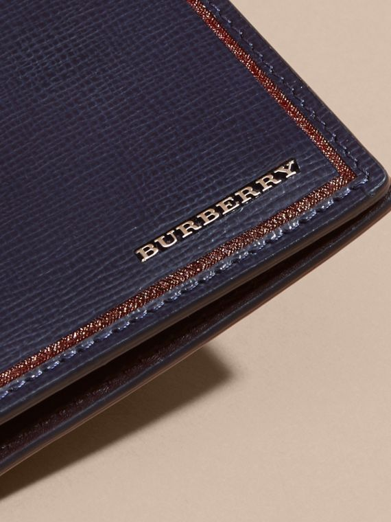 Dark navy Border Detail London Leather Folding Wallet Dark Navy - cell image 3