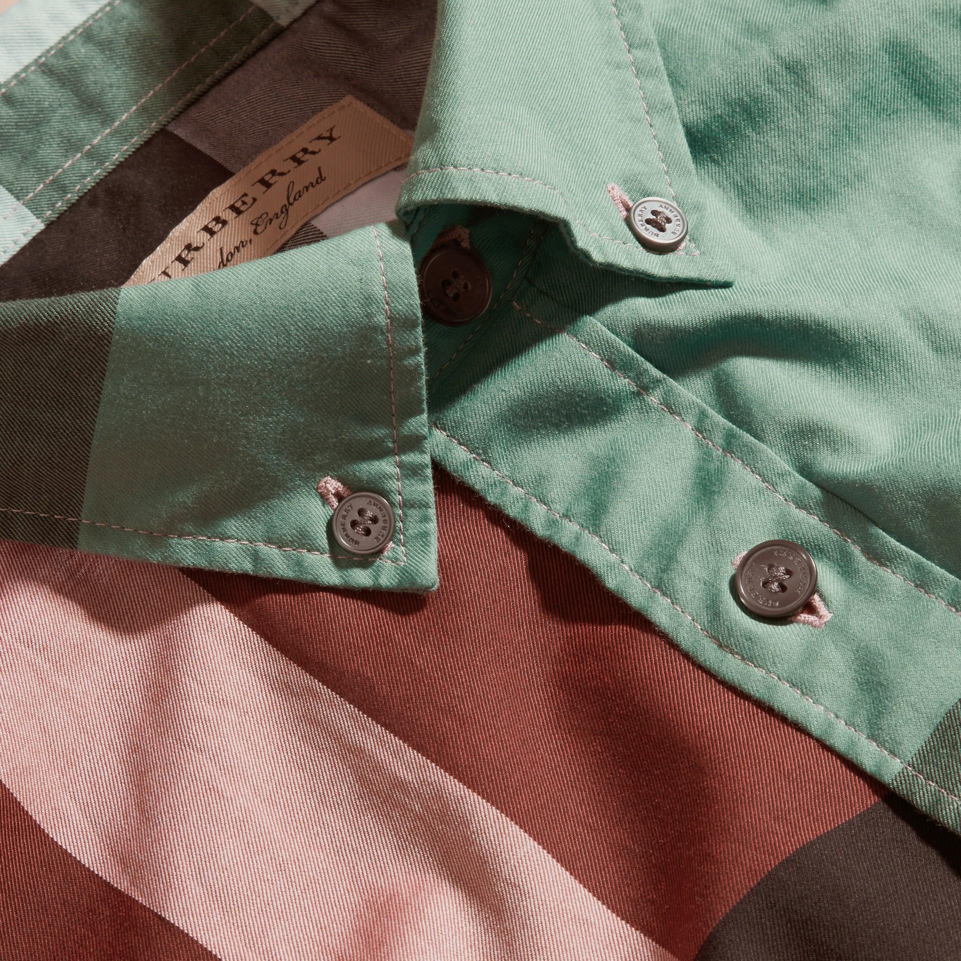 Parade red Camisa de algodão de mangas curtas e estampa Colour Block xadrez Parade Red - galeria de imagens 2