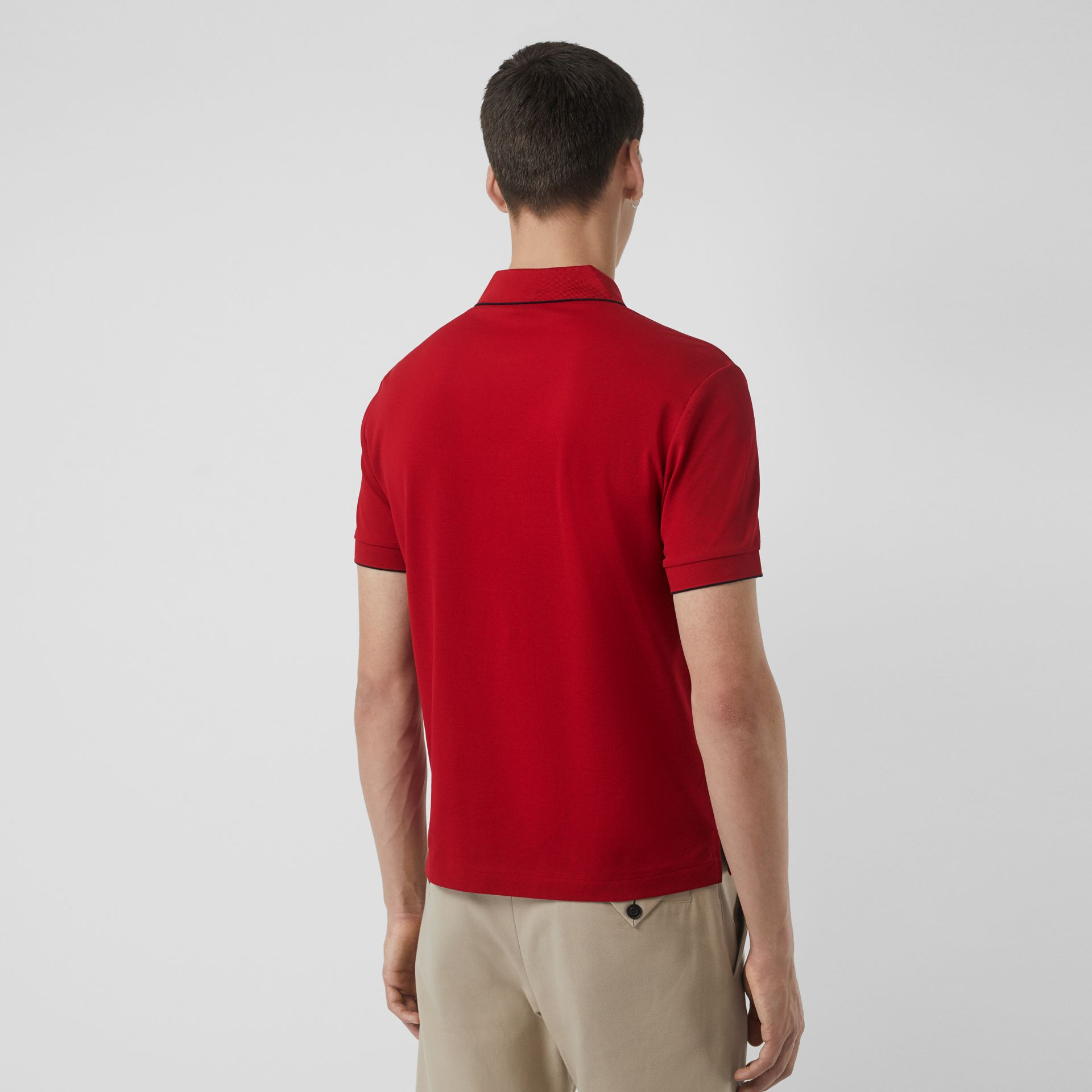 Tipped Cotton Piqué Polo Shirt in Military Red - Men | Burberry - gallery image 2