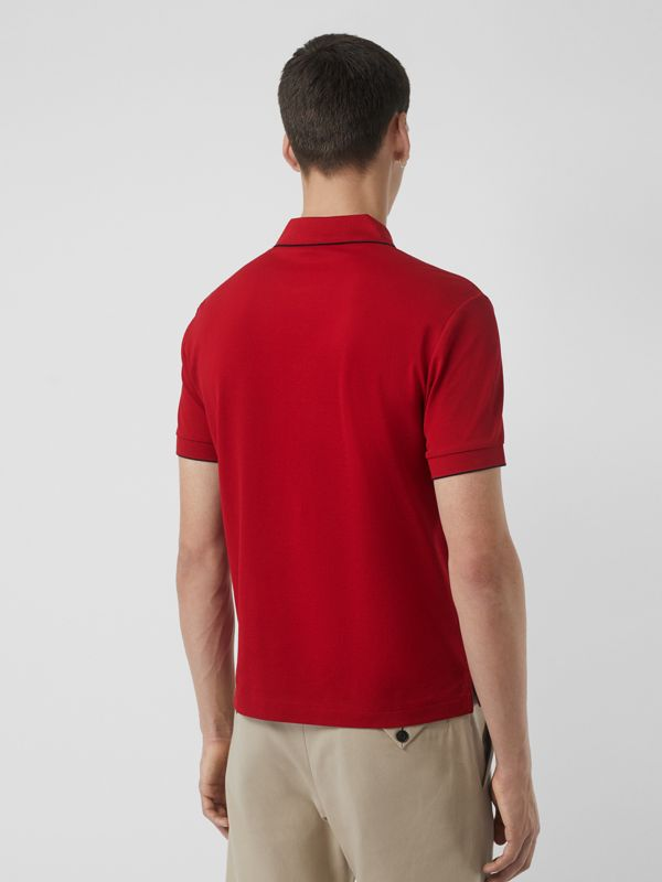 Tipped Cotton Piqué Polo Shirt in Military Red - Men | Burberry Canada - cell image 2