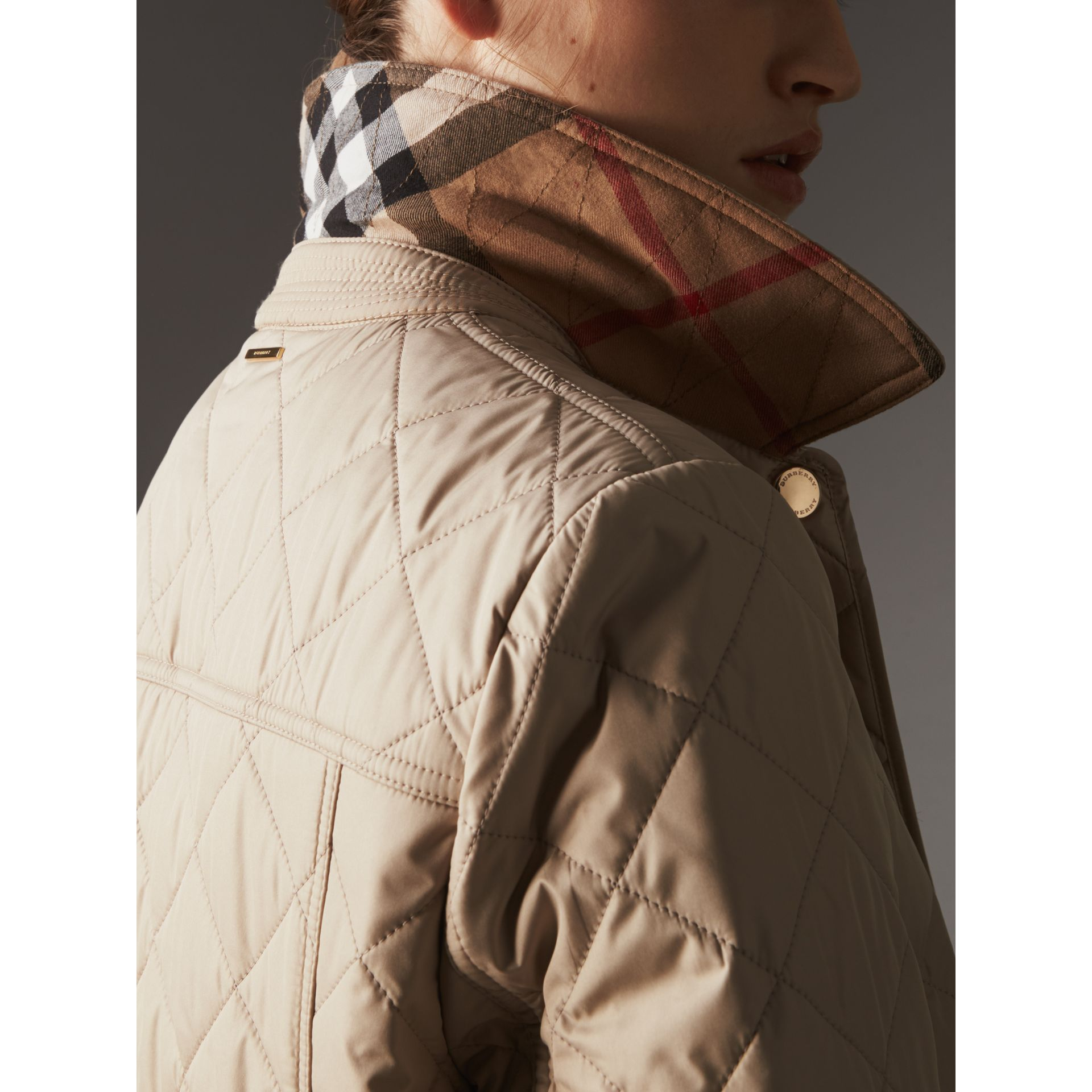 Check Detail Diamond Quilted Jacket in Dark Stone - Women | Burberry - gallery image 1