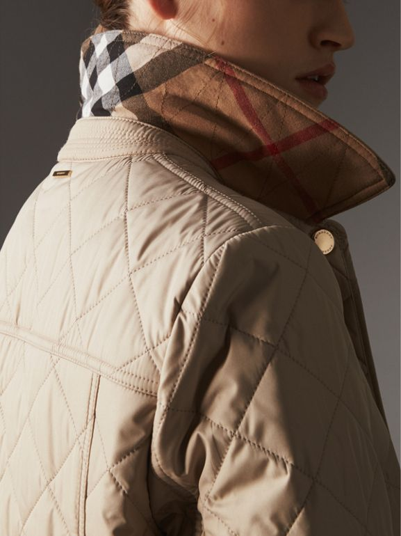 Check Detail Diamond Quilted Jacket in Dark Stone - Women | Burberry United States - cell image 1
