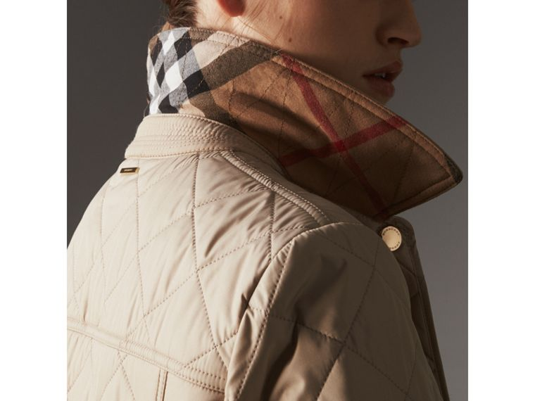 Check Detail Diamond Quilted Jacket in Dark Stone - Women | Burberry - cell image 1