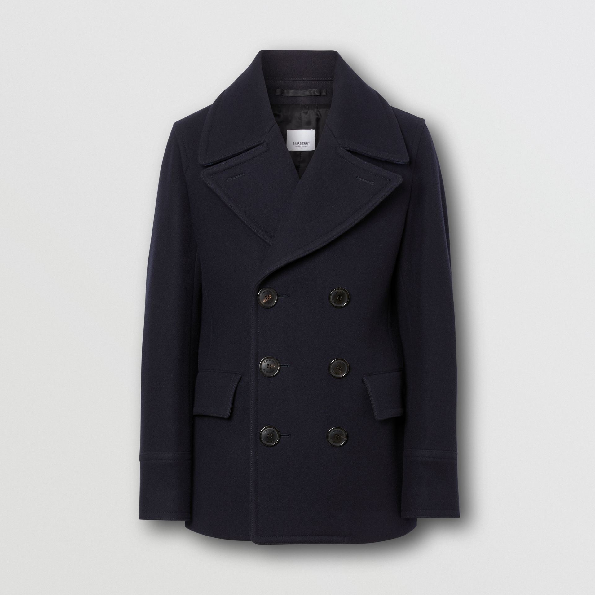 Wool Blend Pea Coat in Navy - Men | Burberry United States - gallery image 3