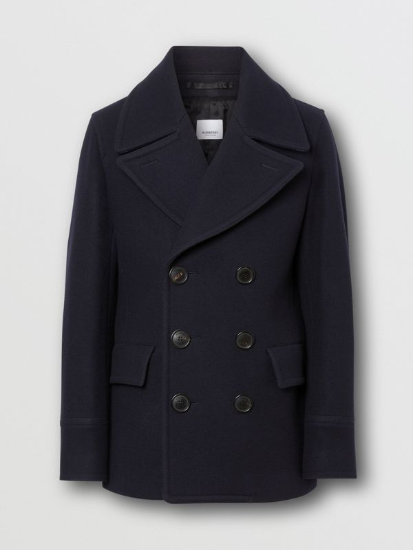 Wool Blend Pea Coat in Navy - Men | Burberry - cell image 3