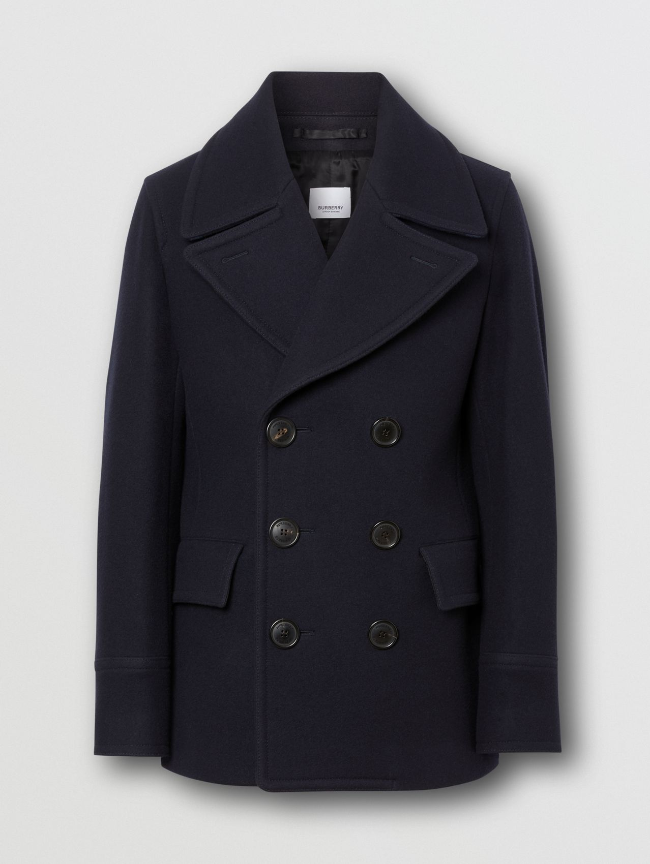 Wool Blend Pea Coat in Navy
