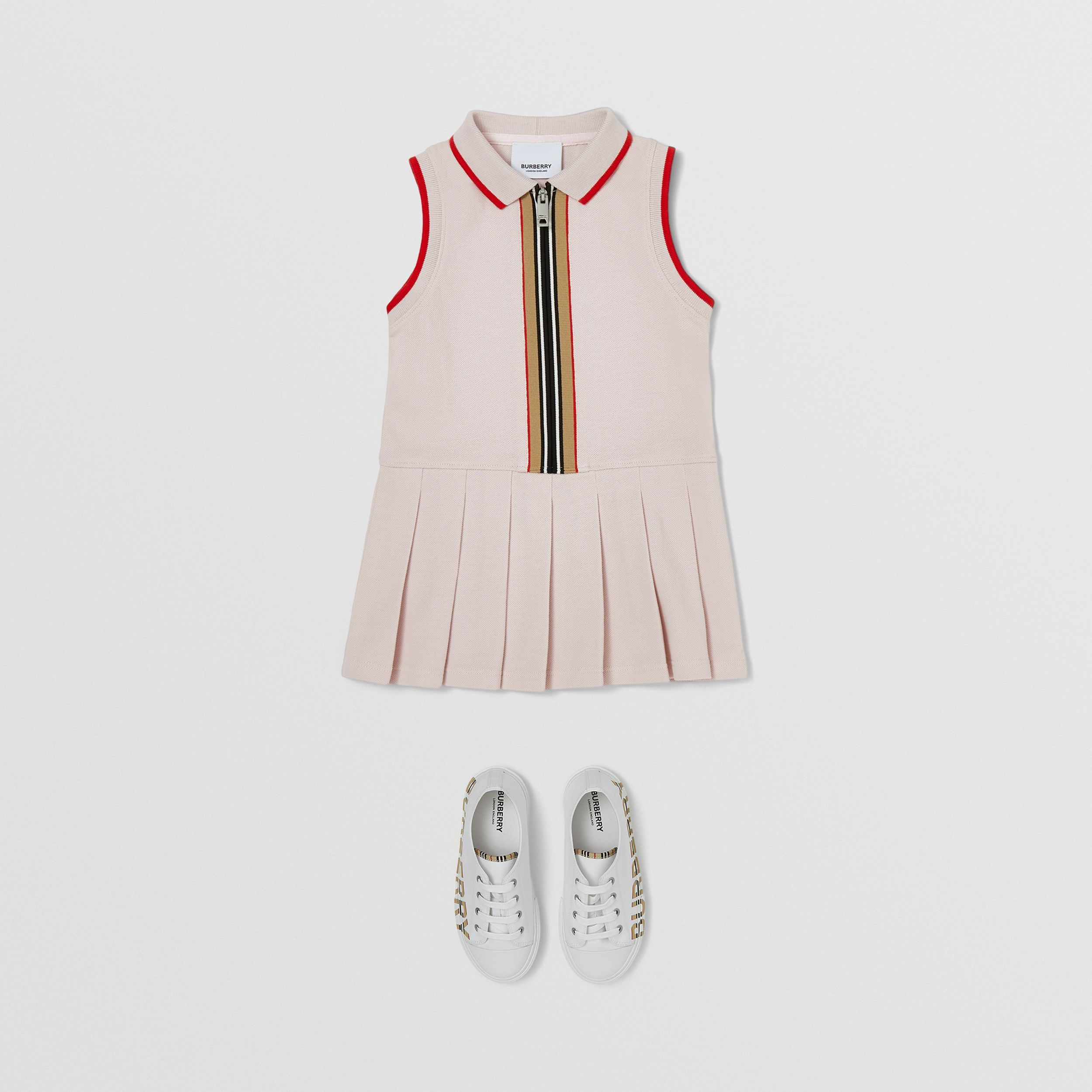 Icon Stripe Detail Cotton Sleeveless Polo Shirt Dress in Pastel Pink - Children | Burberry United Kingdom - 3