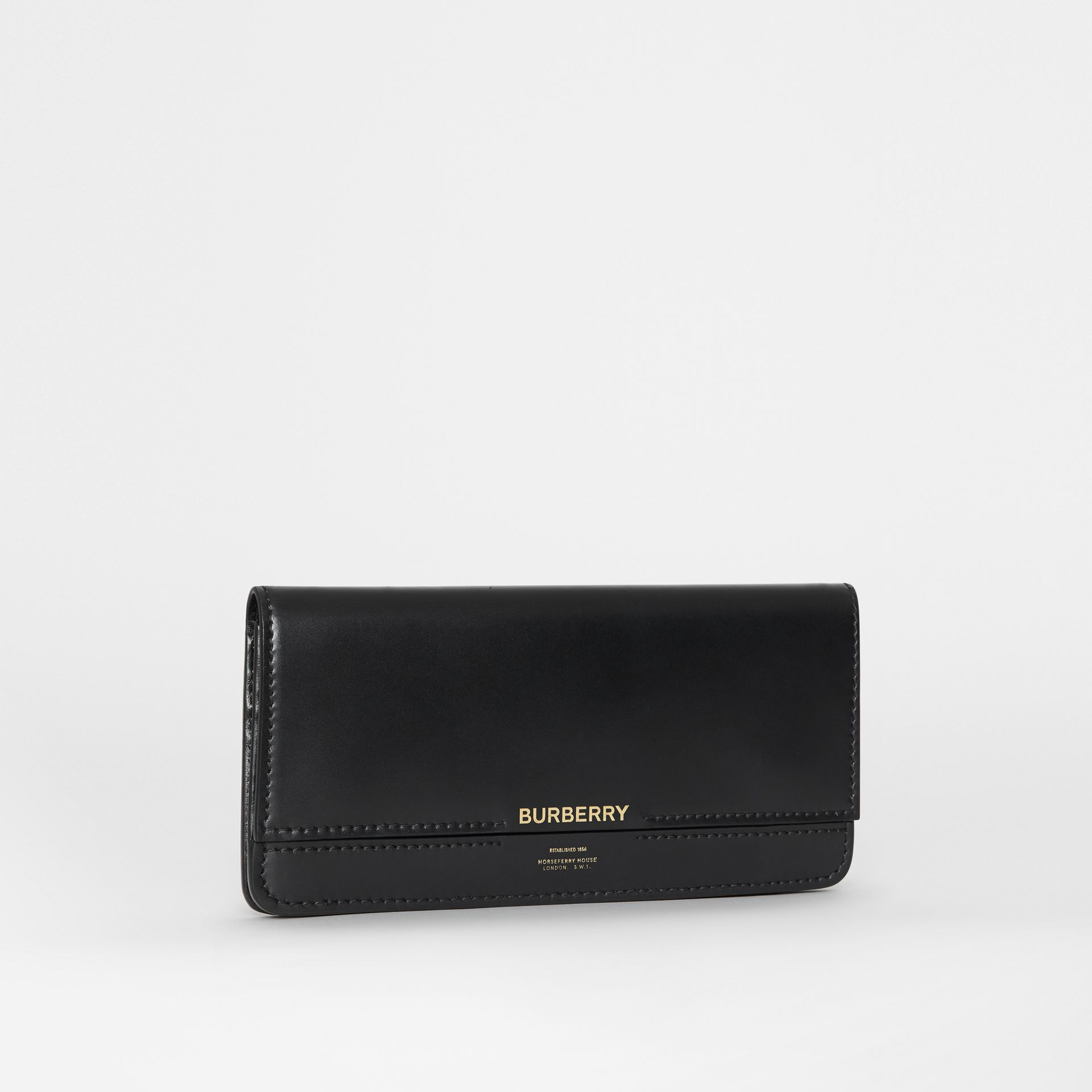 Horseferry Embossed Leather Continental Wallet in Black - Women | Burberry - gallery image 3