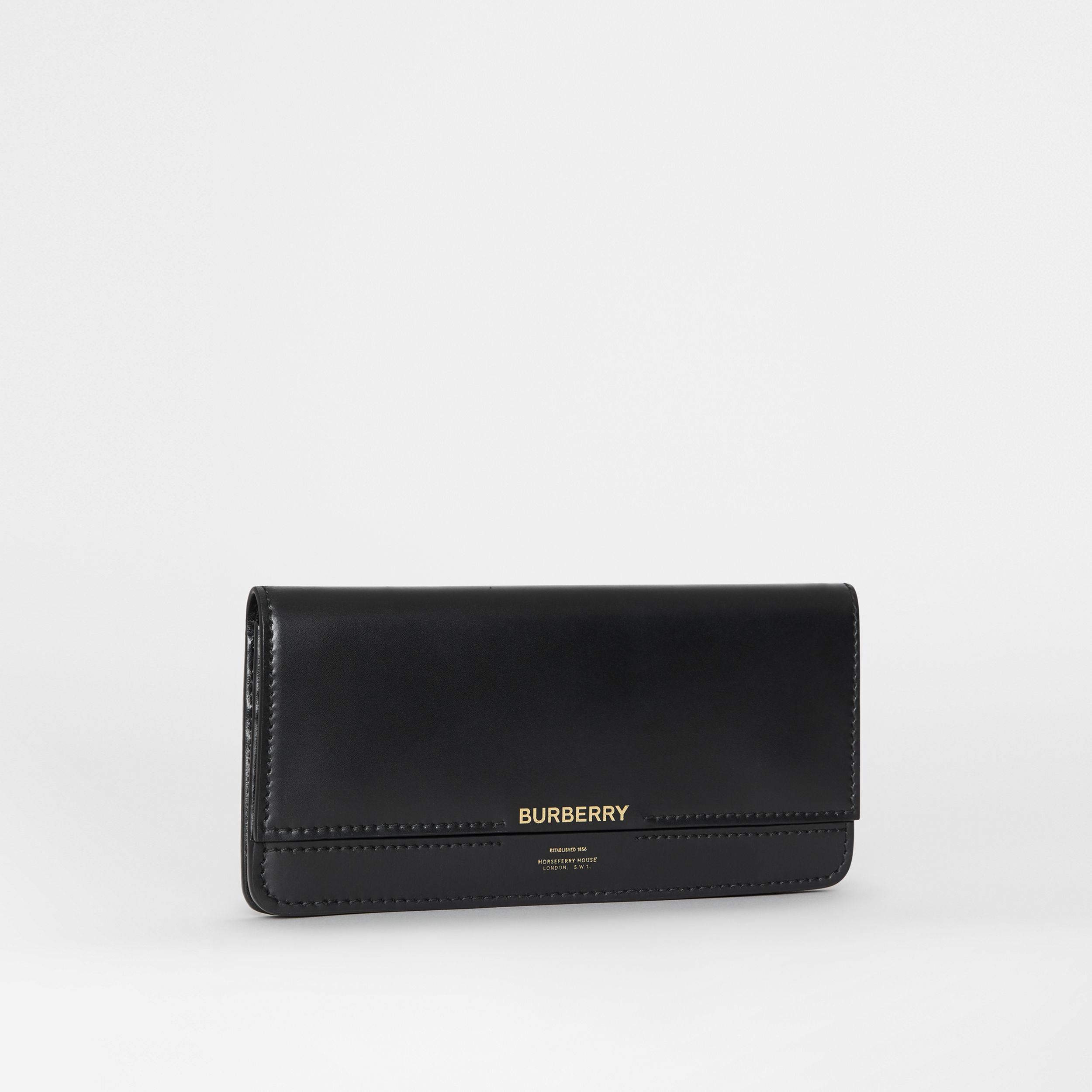 Horseferry Embossed Leather Continental Wallet in Black - Women | Burberry - 4