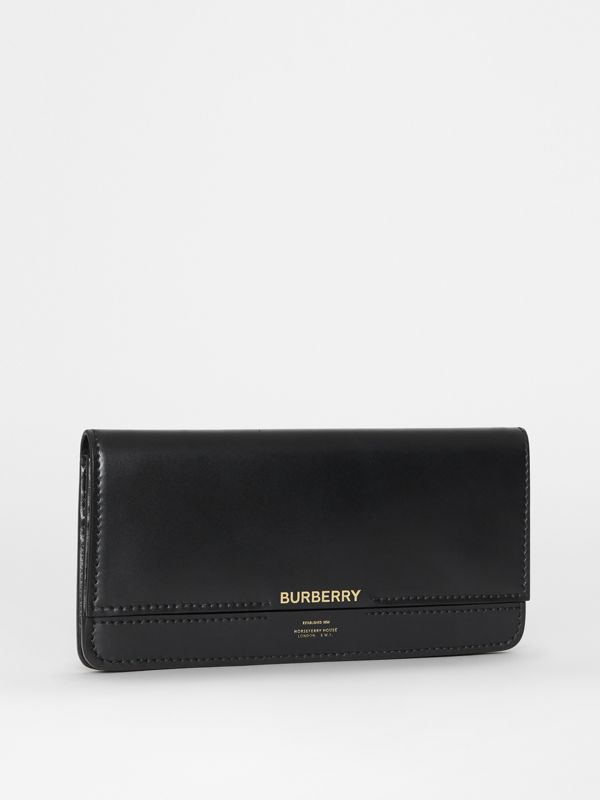 Horseferry Embossed Leather Continental Wallet in Black - Women | Burberry United Kingdom - cell image 3