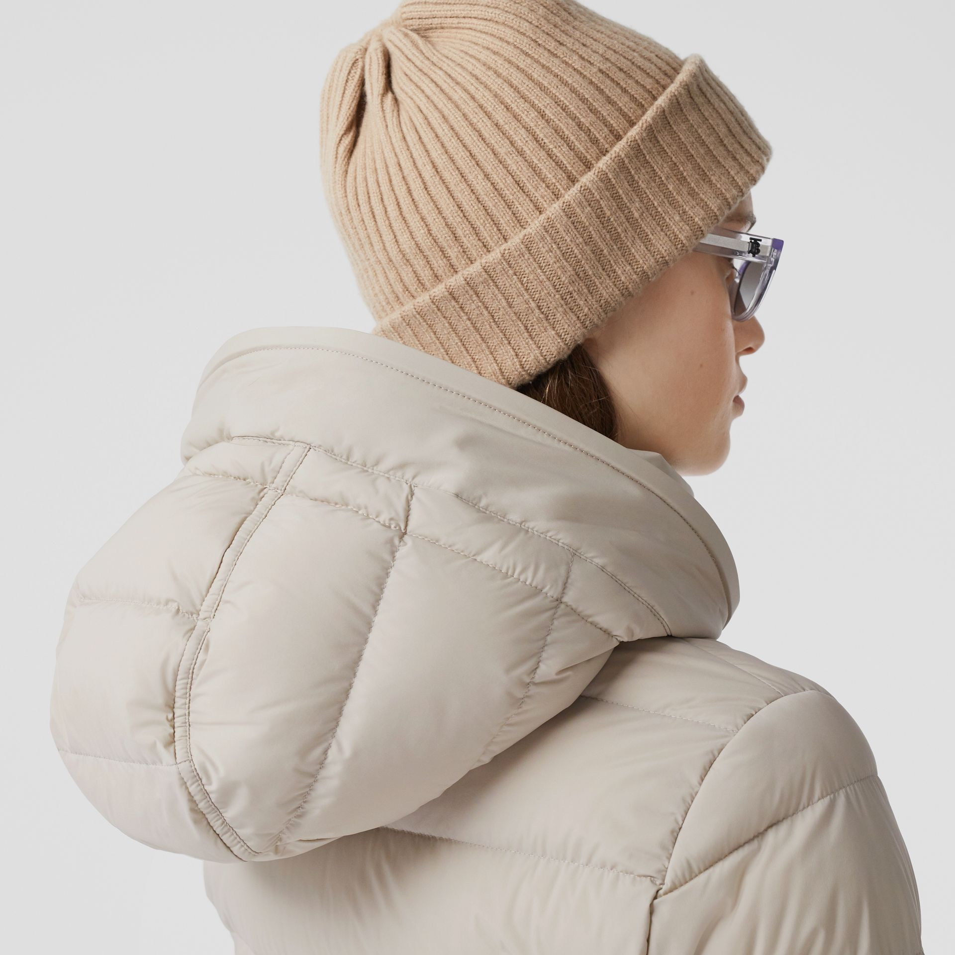 Detachable Faux Fur Trim Hooded Puffer Coat in Neutral Olive - Women | Burberry United Kingdom - gallery image 4