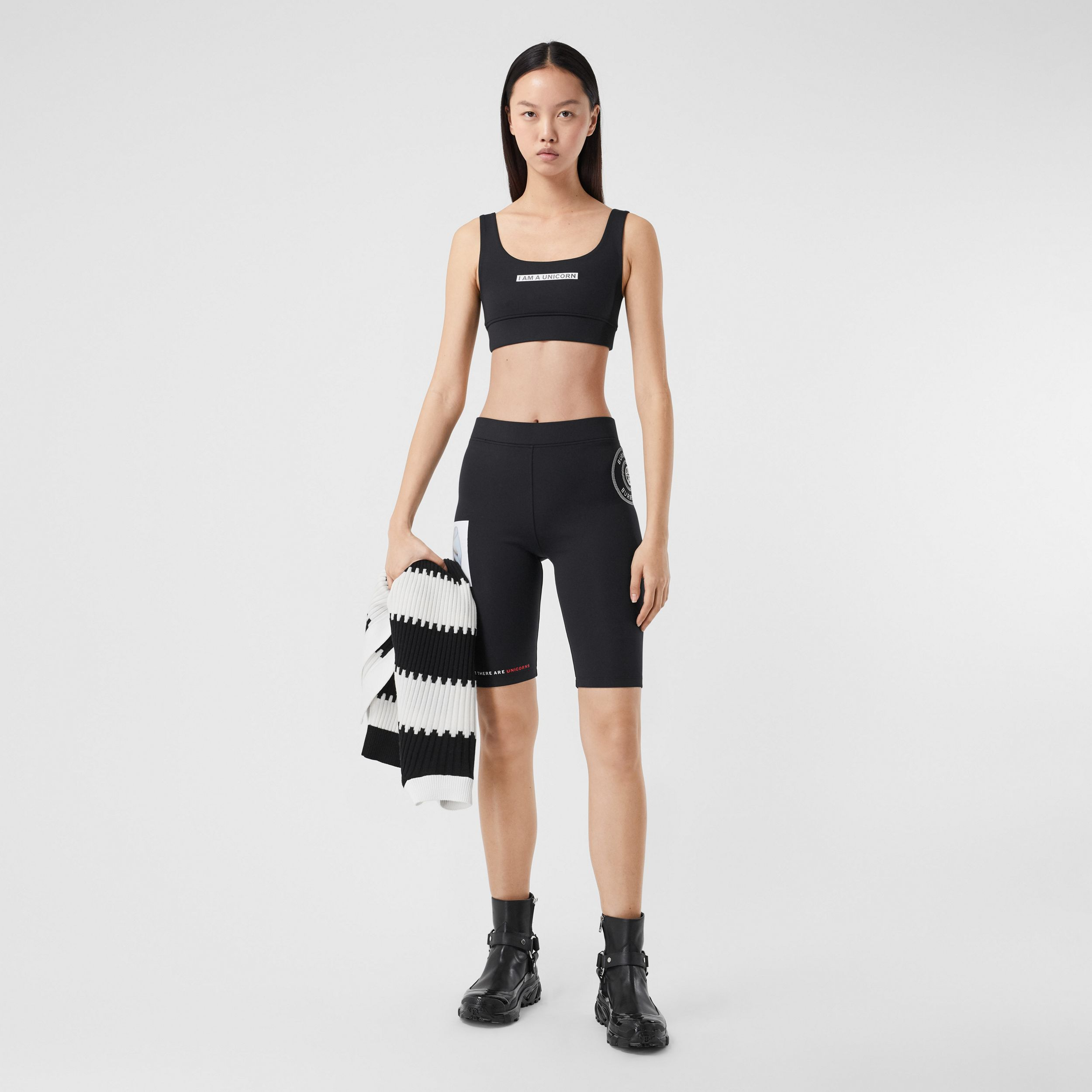 Slogan Print Stretch Jersey Bra Top in Black - Women | Burberry Hong Kong S.A.R. - 1