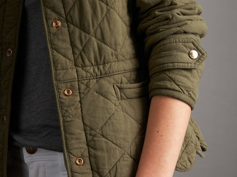 Scalloped Diamond Quilted Cotton Jacket in Olive - Women | Burberry - cell image 1
