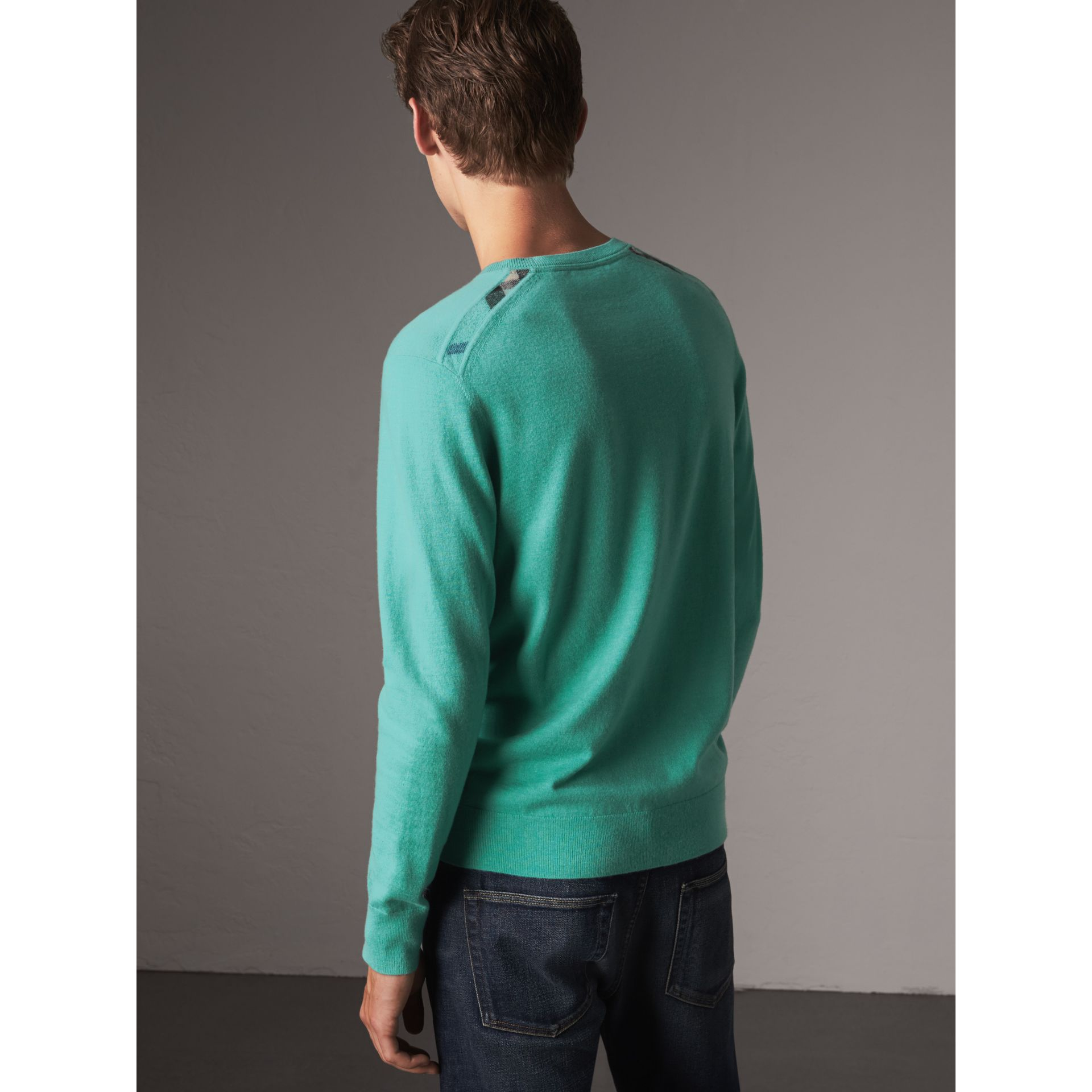 Lightweight Crew Neck Cashmere Sweater with Check Trim in Pale Jade - Men | Burberry - gallery image 3