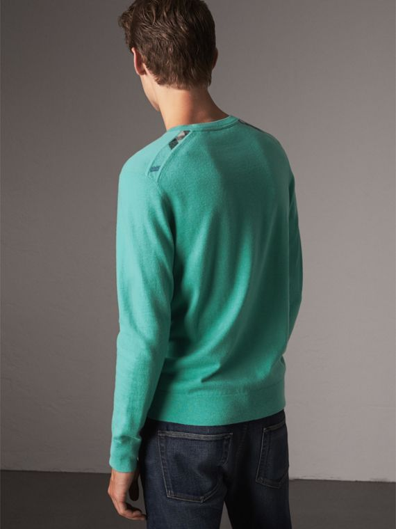Lightweight Crew Neck Cashmere Sweater with Check Trim in Pale Jade - Men | Burberry - cell image 2