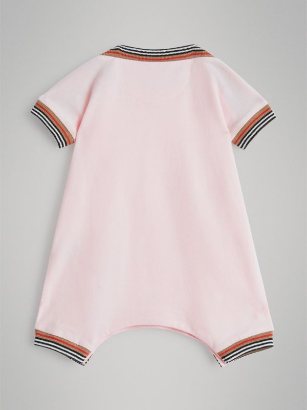 Heritage Stripe Cotton Piqué Two-piece Baby Gift Set in Powder Pink - Children | Burberry - cell image 3