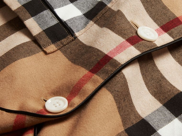 Camel Check Cotton Flannel Pyjama-style Shirt - cell image 1