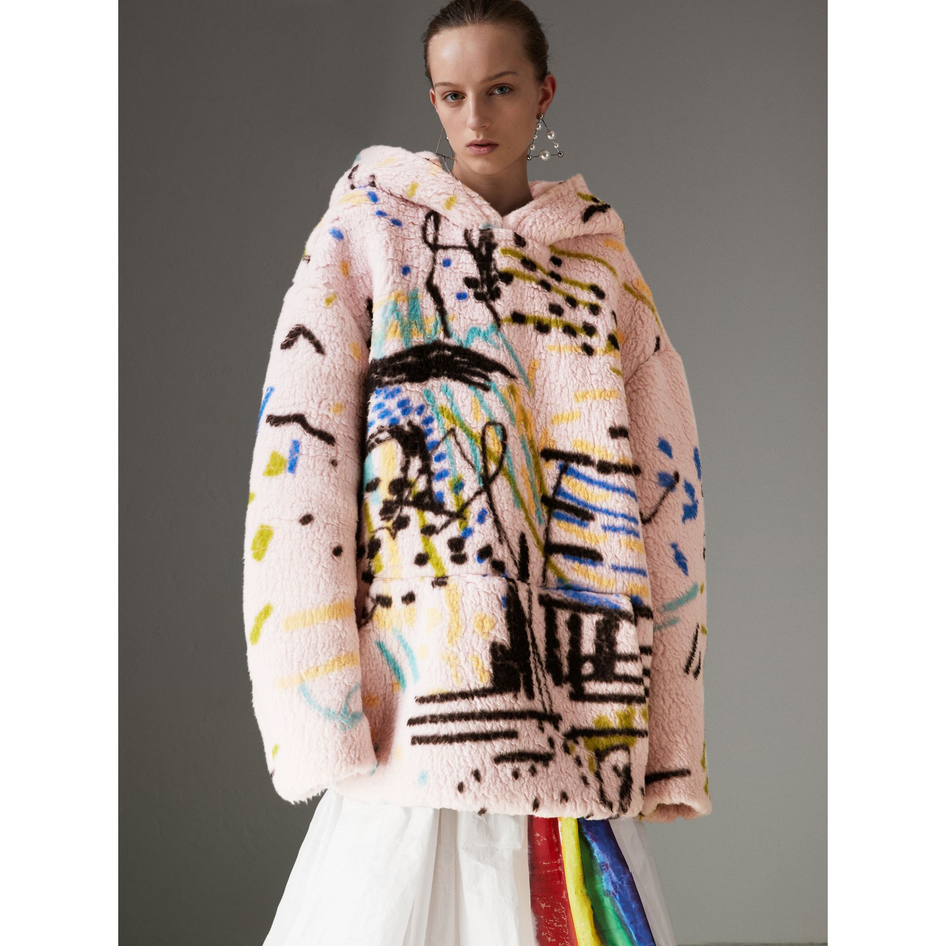 Graffiti Print Cashmere Silk Fleece Hoodie in Pale Rose - Women | Burberry Australia - gallery image 4