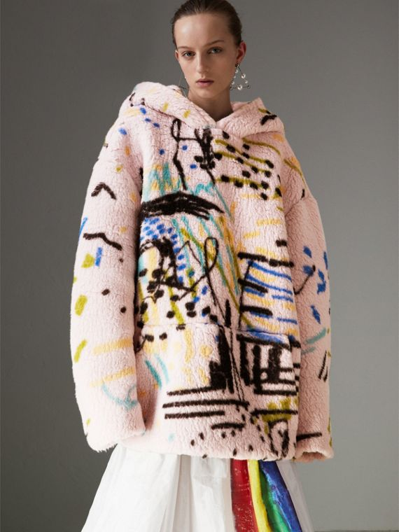 Graffiti Print Cashmere Silk Fleece Hoodie in Pale Rose