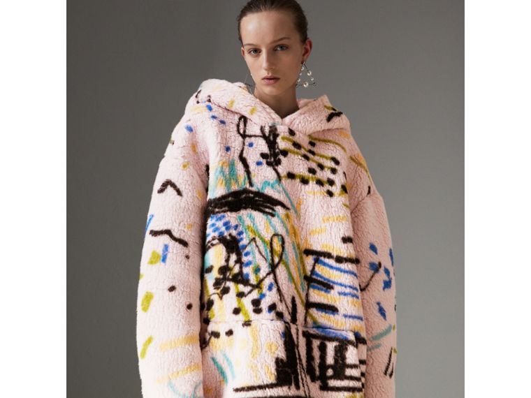 Graffiti Print Cashmere Silk Fleece Hoodie in Pale Rose - Women | Burberry - cell image 4
