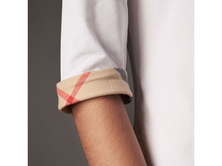 Check Cuff Stretch-Cotton Top in White - Women | Burberry Singapore - cell image 1
