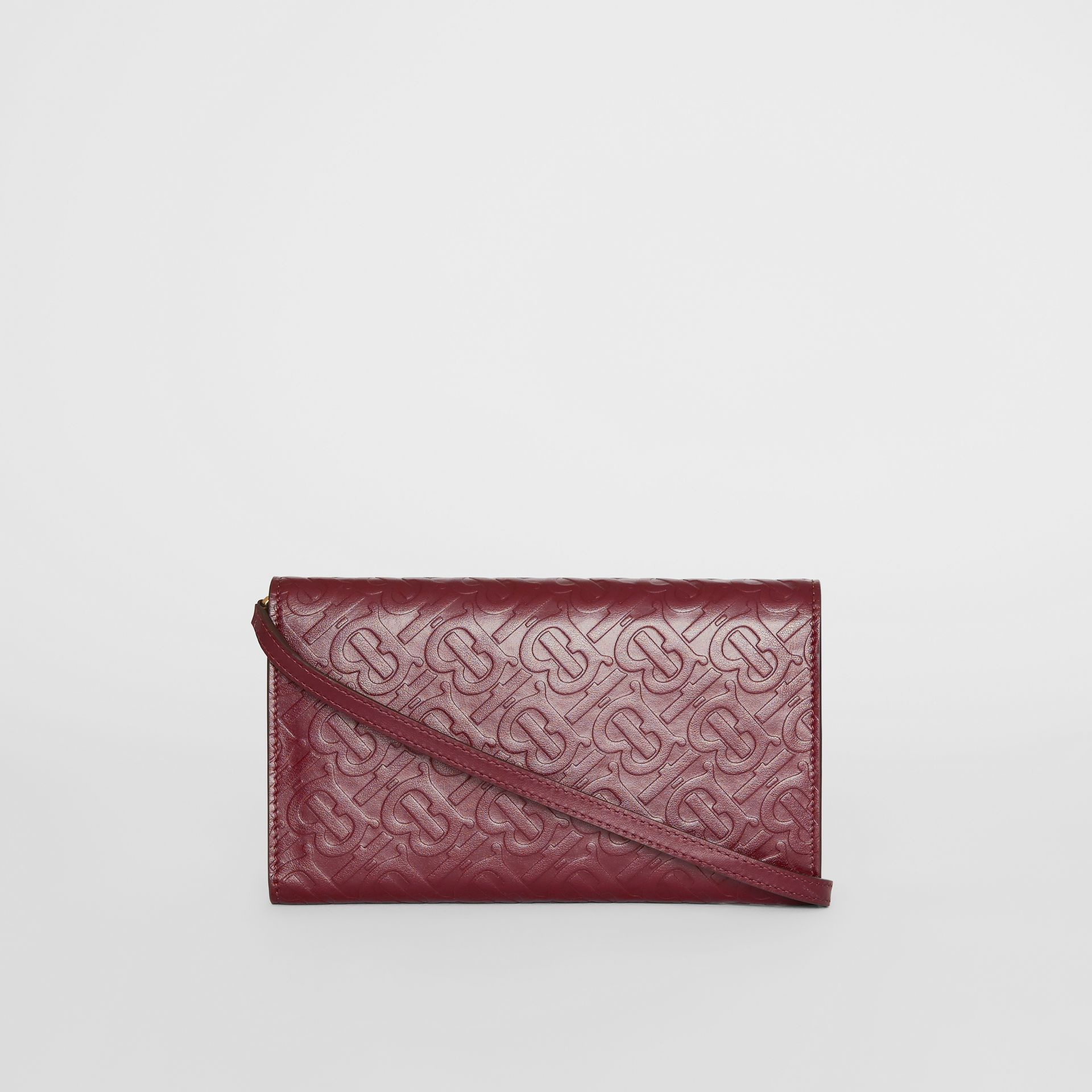 Monogram Leather Wallet with Detachable Strap in Oxblood - Women | Burberry - gallery image 7