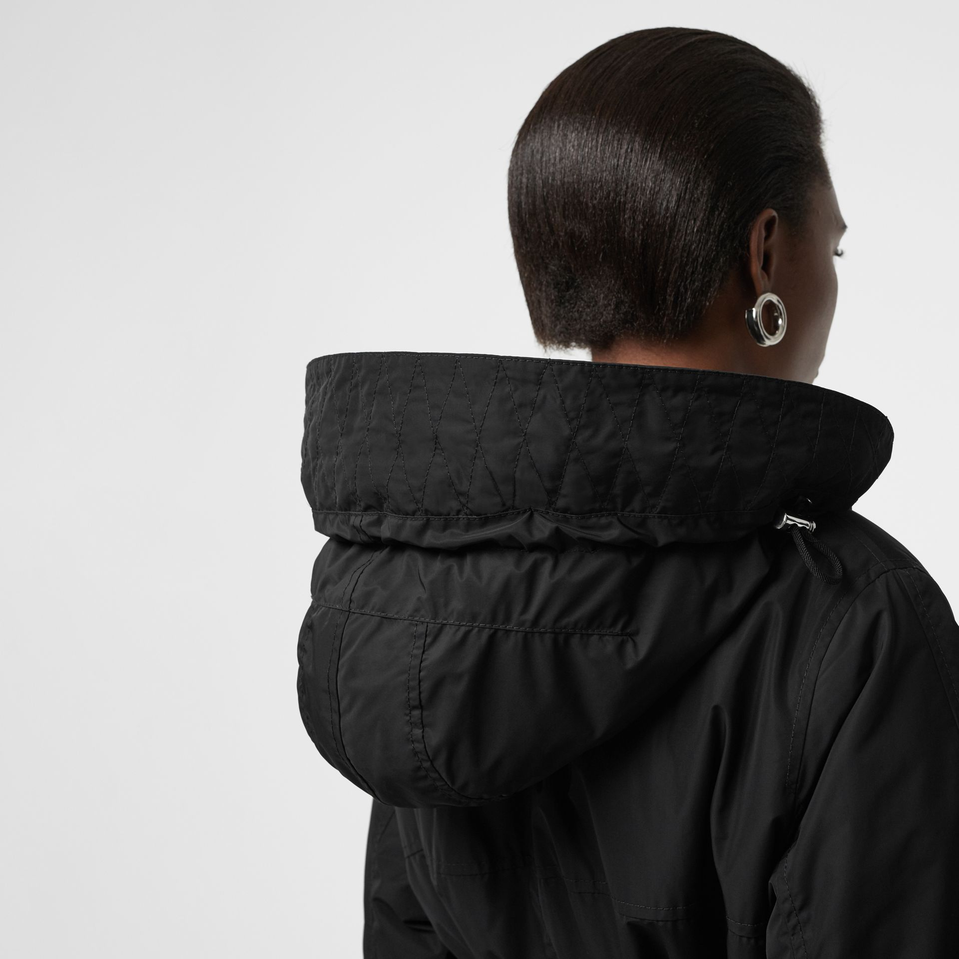 Shape-memory Taffeta Hooded Parka in Black - Women | Burberry - gallery image 4