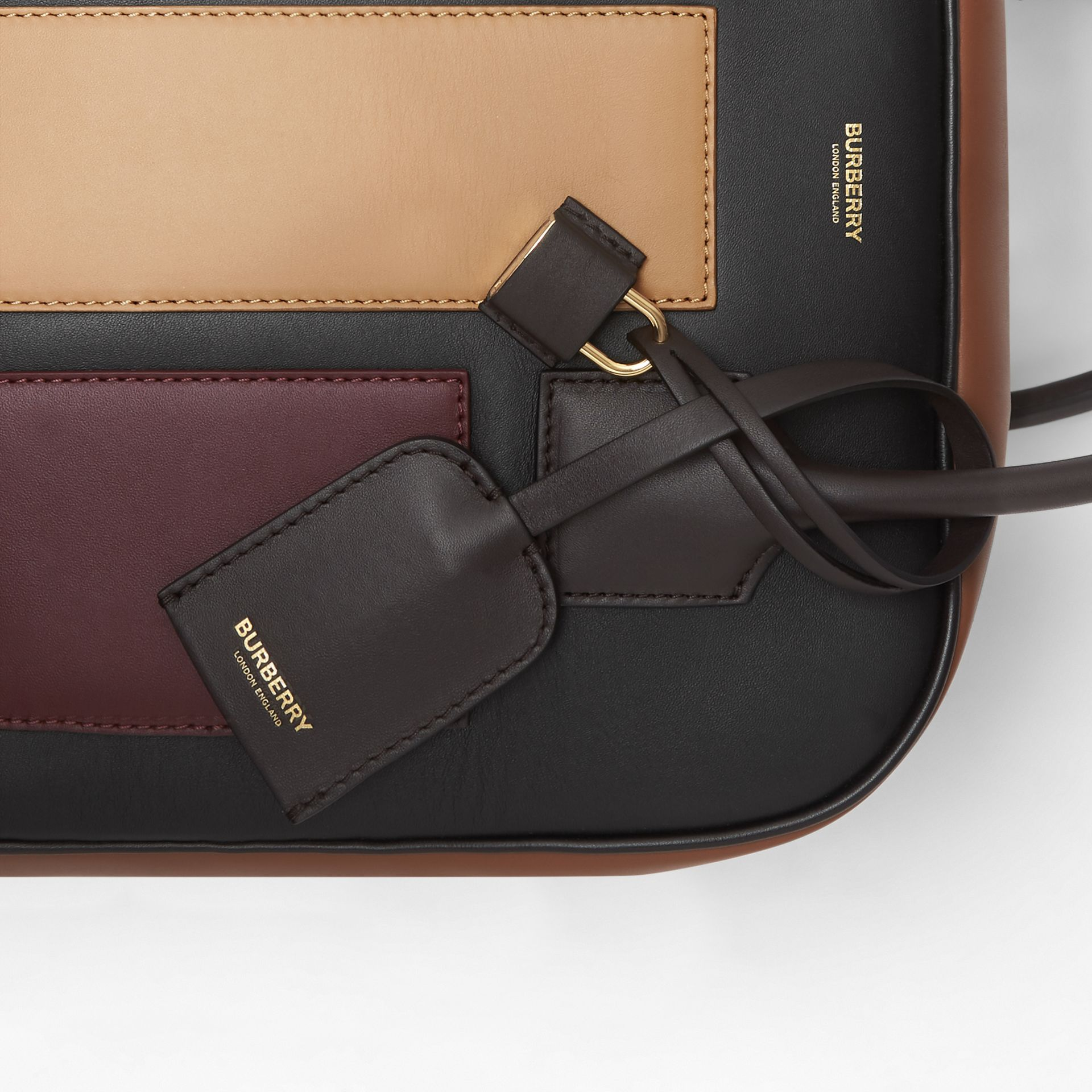 Medium Panelled Leather Cube Bag in Black - Women | Burberry Canada - gallery image 8