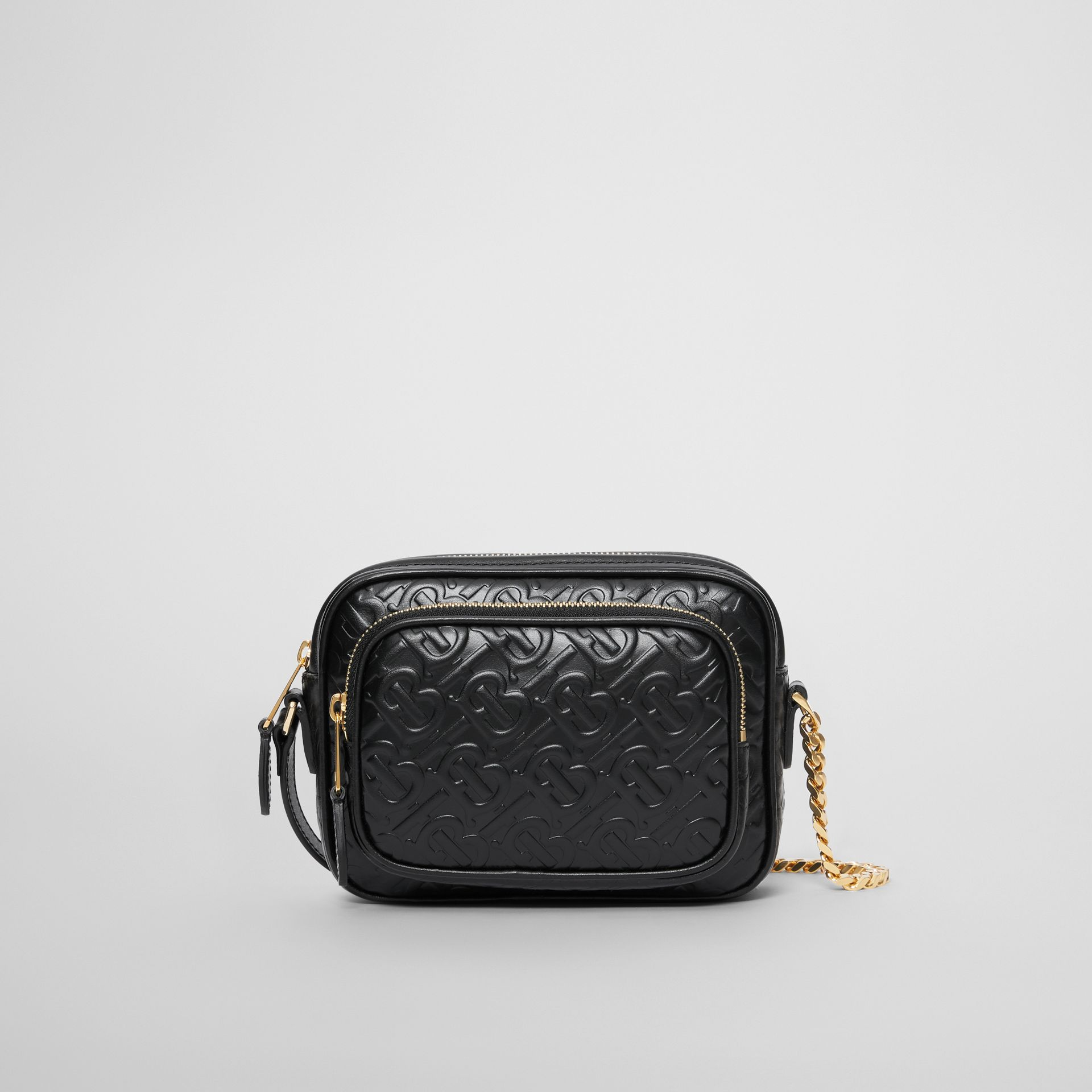 Monogram Leather Camera Bag in Black - Women | Burberry - gallery image 0