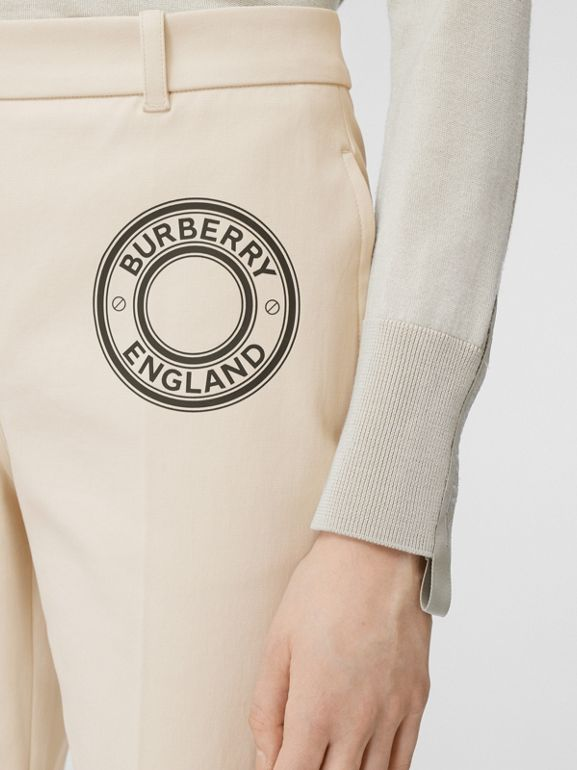 Logo Graphic Stretch Cotton Canvas Tailored Trousers in Pale Cream - Women | Burberry Hong Kong S.A.R - cell image 1