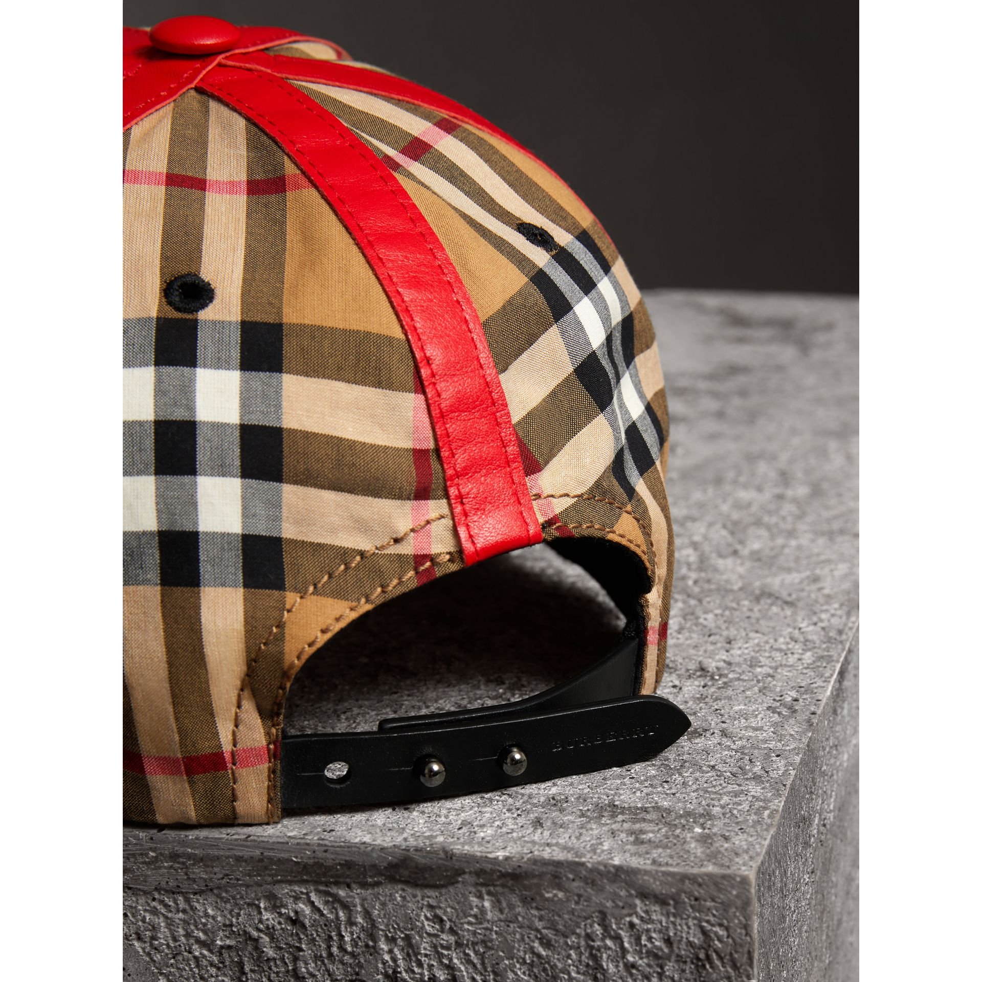 Burberry x Kris Wu Vintage Check and Leather Baseball Cap in Antique Yellow/black - Men | Burberry - gallery image 3