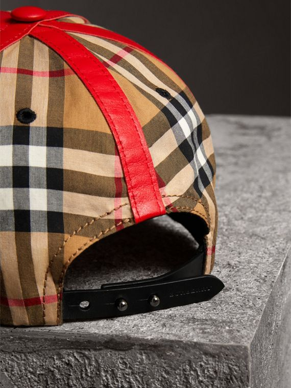 Burberry x Kris Wu Vintage Check and Leather Baseball Cap in Antique Yellow/black - Men | Burberry Canada - cell image 3