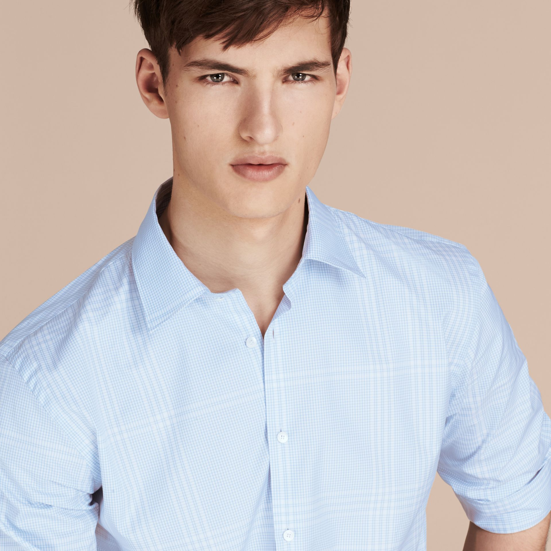City blue Check Cotton Shirt City Blue - gallery image 5
