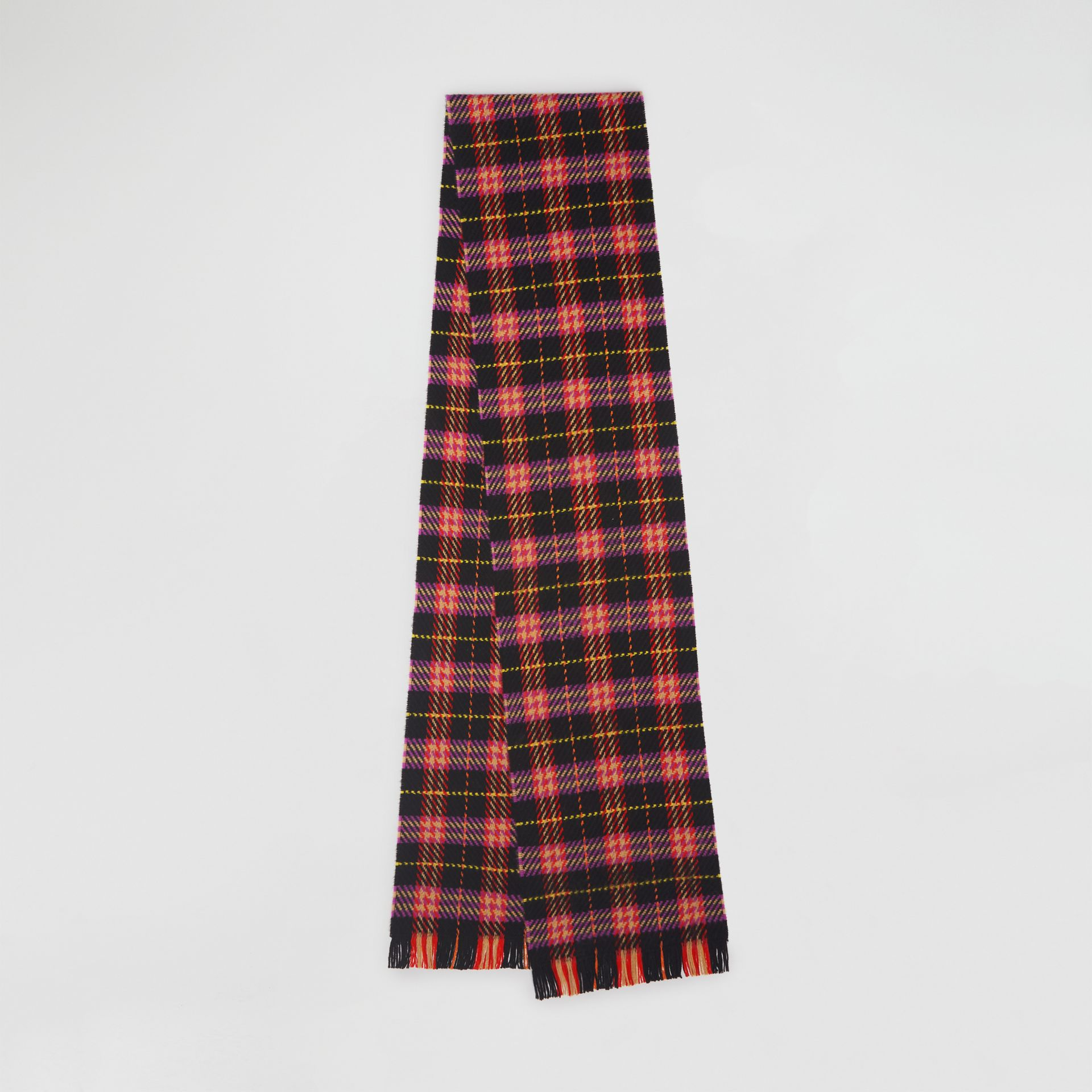 Check Merino Wool Scarf in Black | Burberry - gallery image 0